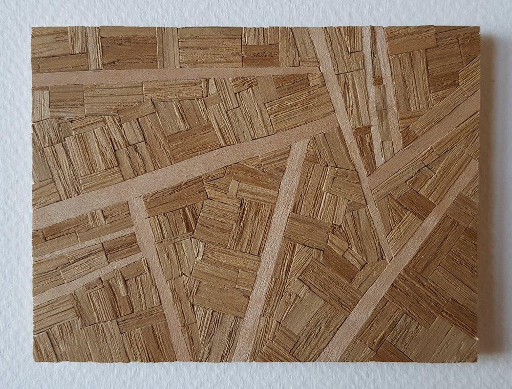 Series 64-35 (2013): wood veneers and mixed media 10cm x 8cm