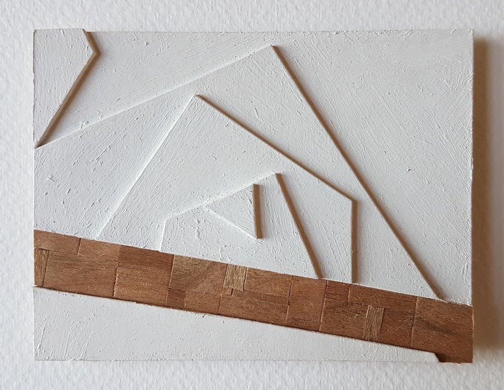 Series 64-36 (2013): wood veneers and mixed media 10cm x 8cm
