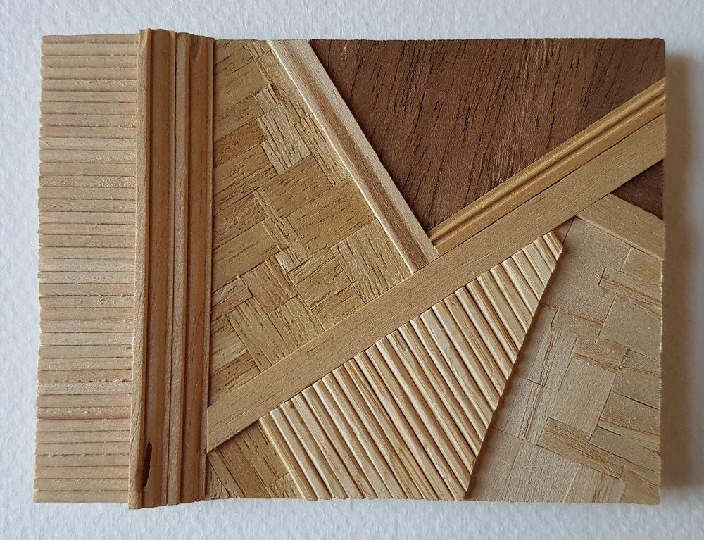 Series 64-37 (2013): wood veneers and mixed media 10cm x 8cm