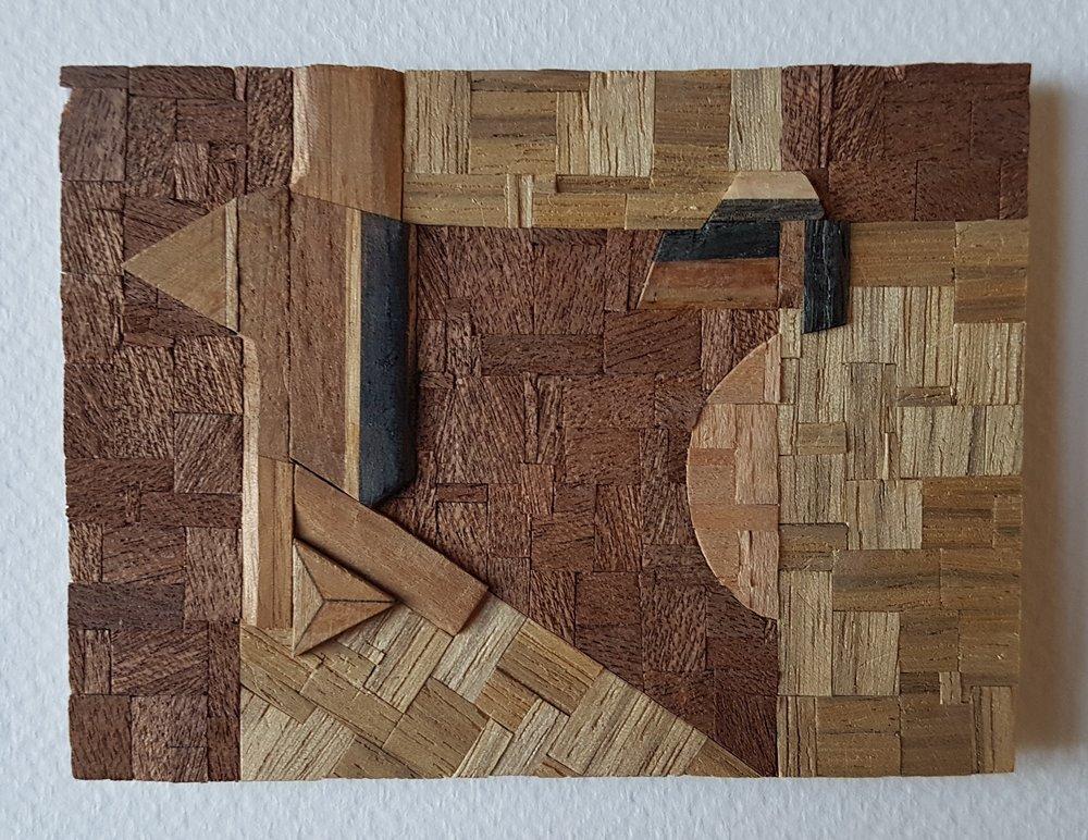 Series 64-38 (2013): wood veneers and mixed media 10cm x 8cm