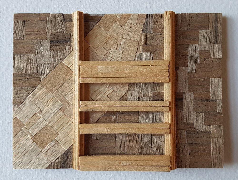 Series 64-39 (2013): wood veneers and mixed media 10cm x 8cm