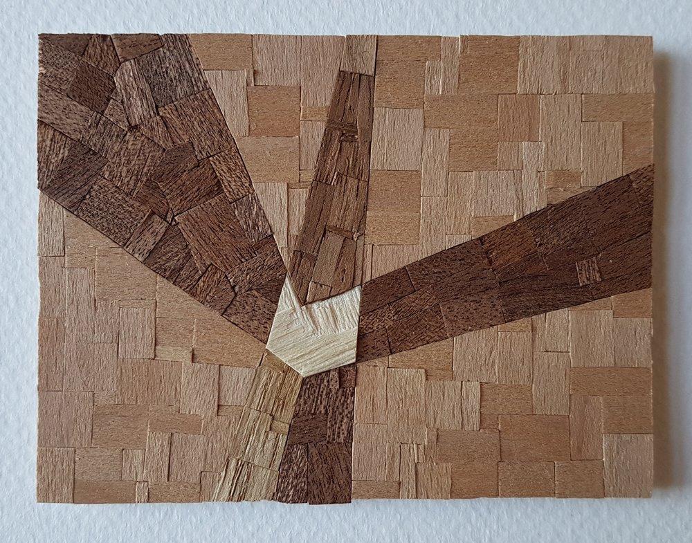 Series 64-40 (2013): wood veneers and mixed media 10cm x 8cm