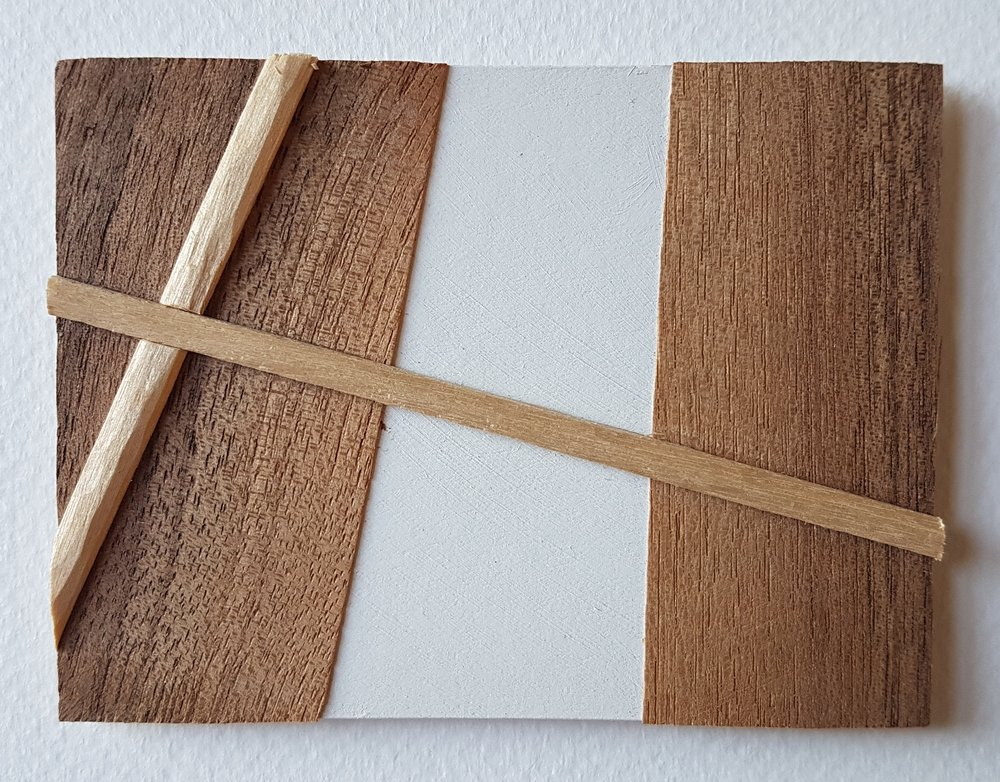 Series 64-42 (2013): wood veneers and mixed media 10cm x 8cm