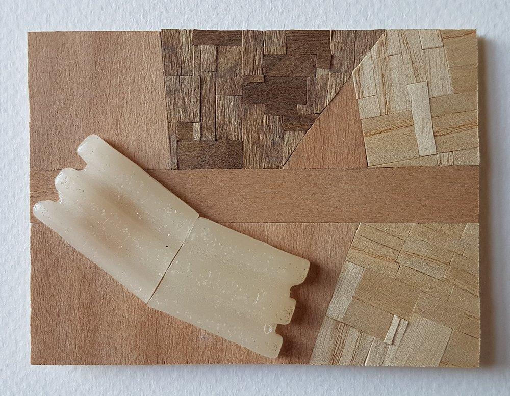 Series 64-43 (2013): wood veneers and mixed media 10cm x 8cm