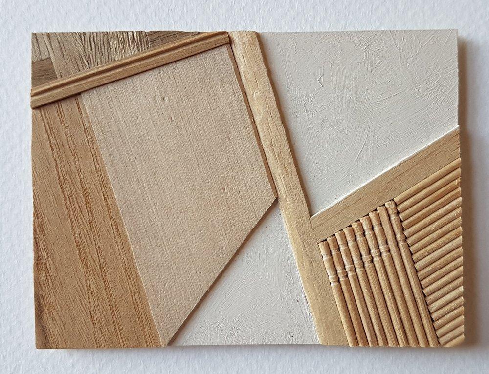 Series 64-44 (2013): wood veneers and mixed media 10cm x 8cm