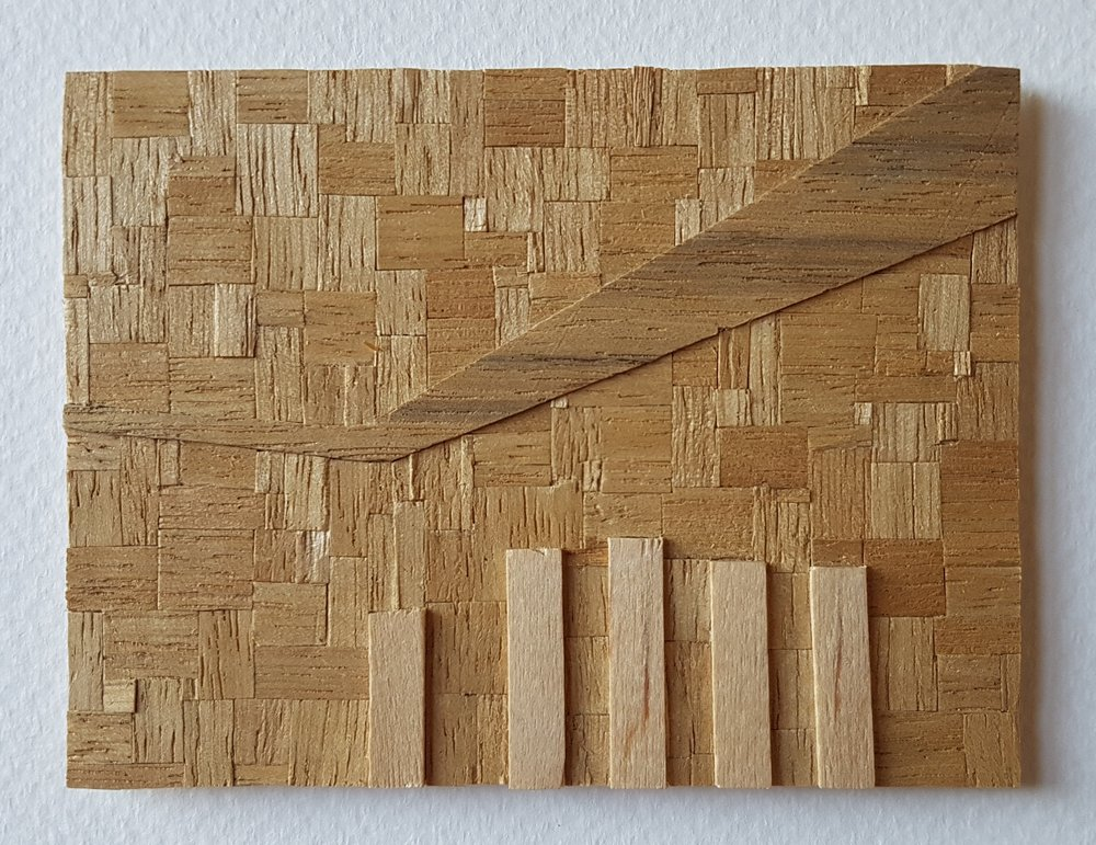 Series 64-45 (2013): wood veneers and mixed media 10cm x 8cm