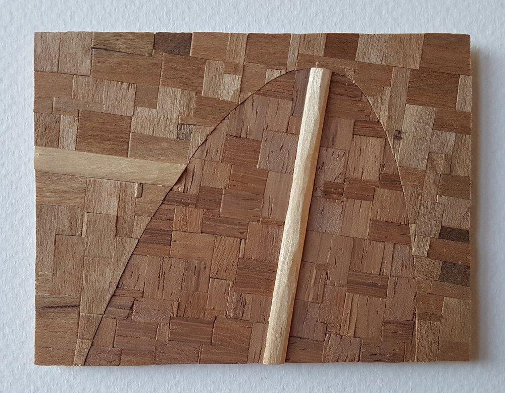 Series 64-46 (2013): wood veneers and mixed media 10cm x 8cm