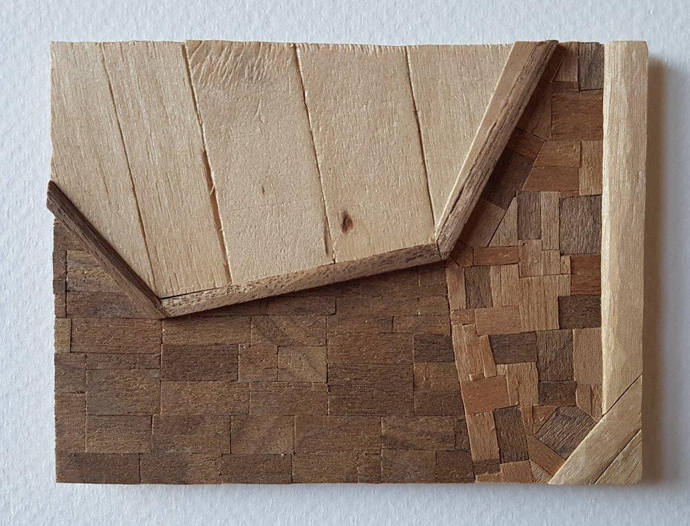 Series 64-47 (2013): wood veneers and mixed media 10cm x 8cm