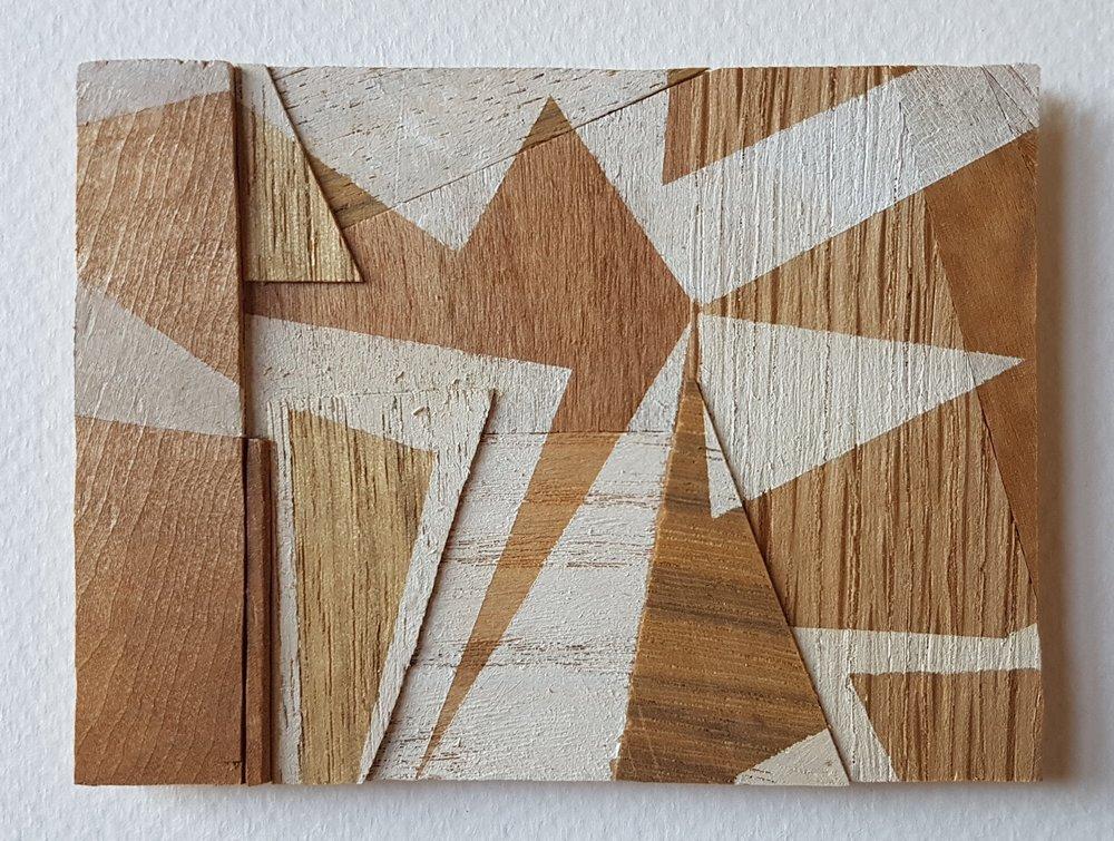 Series 64-48 (2013): wood veneers and mixed media 10cm x 8cm