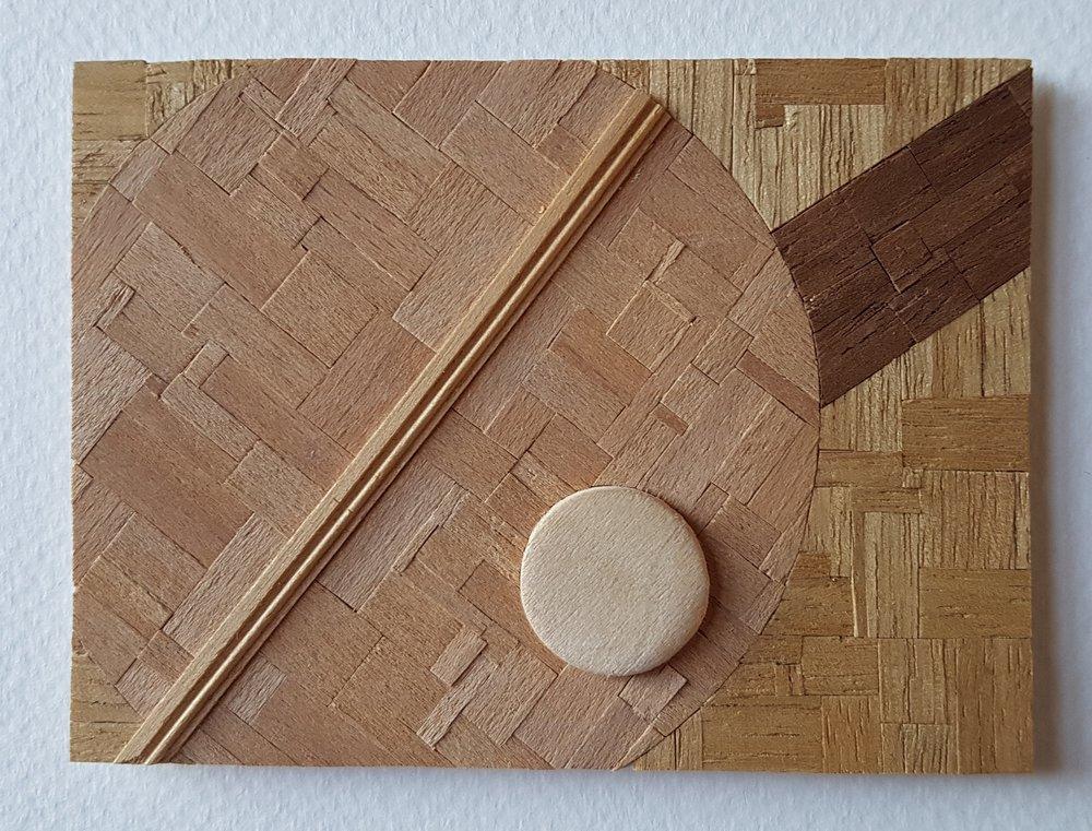 Series 64-49 (2013): wood veneers and mixed media 10cm x 8cm
