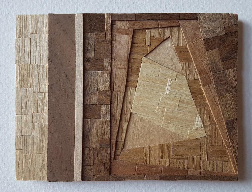 Series 64-50 (2013): wood veneers and mixed media 10cm x 8cm