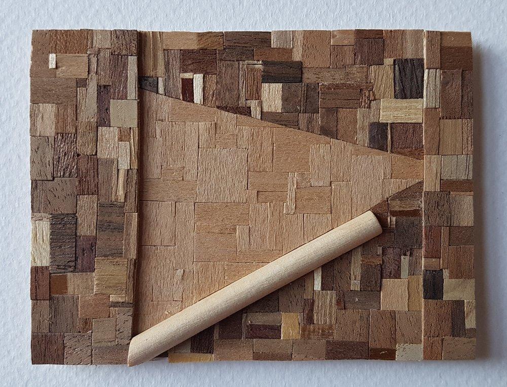 Series 64-51 (2013): wood veneers and mixed media 10cm x 8cm
