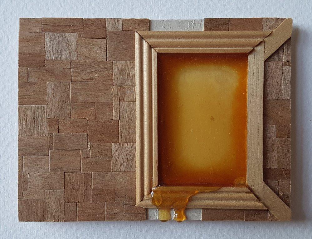 Series 64-52 (2013): wood veneers and mixed media 10cm x 8cm