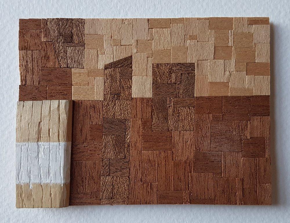 Series 64-53 (2013): wood veneers and mixed media 10cm x 8cm