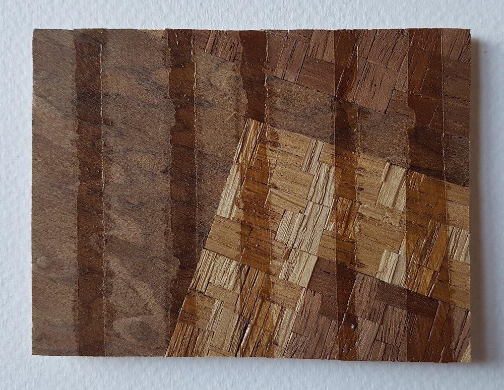 Series 64-54 (2013): wood veneers and mixed media 10cm x 8cm