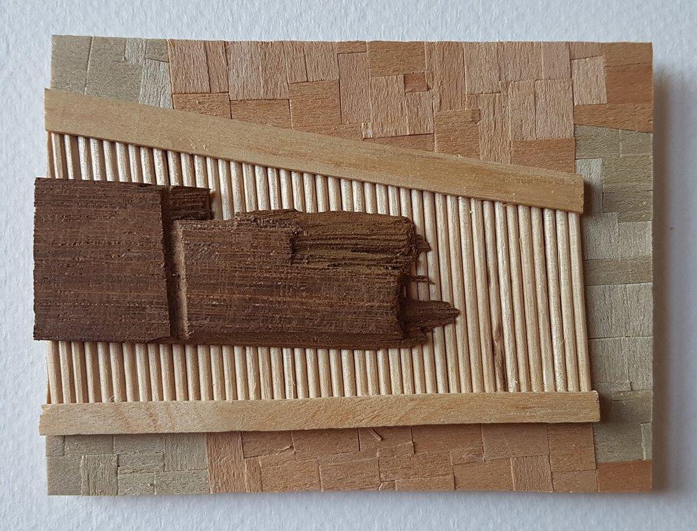 Series 64-55 (2013): wood veneers and mixed media 10cm x 8cm