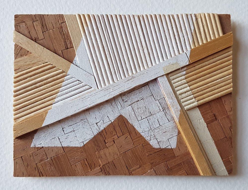 Series 64-56 (2013): wood veneers and mixed media 10cm x 8cm