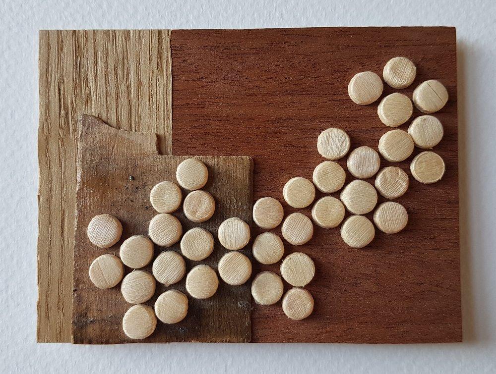 Series 64-58 (2013): wood veneers and mixed media 10cm x 8cm