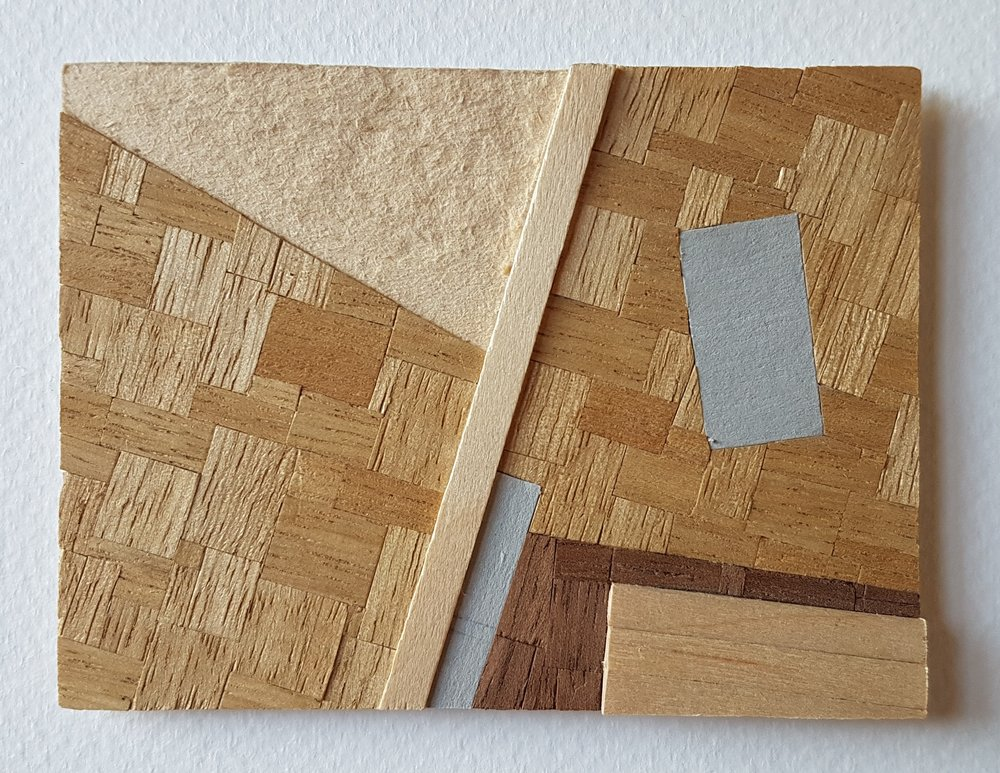 Series 64-59 (2013): wood veneers and mixed media 10cm x 8cm