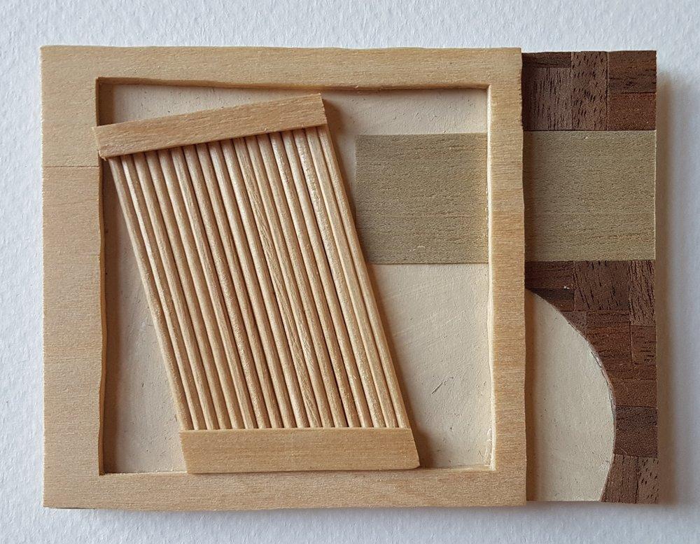 Series 64-60 (2013): wood veneers and mixed media 10cm x 8cm