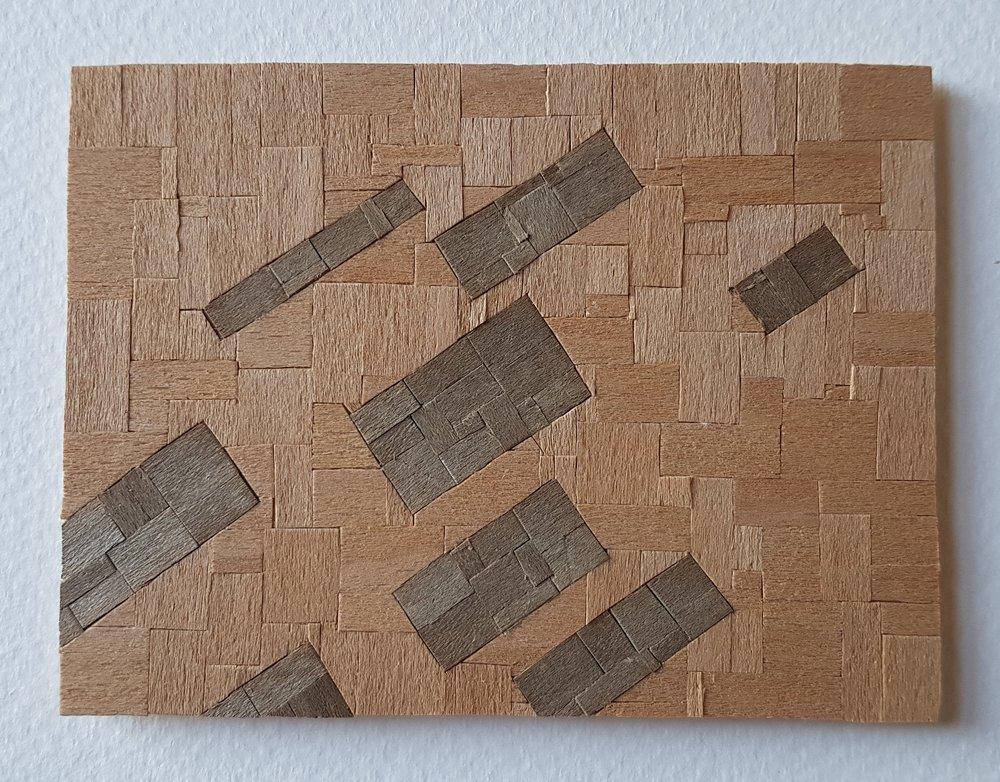 Series 64-61 (2013): wood veneers and mixed media 10cm x 8cm
