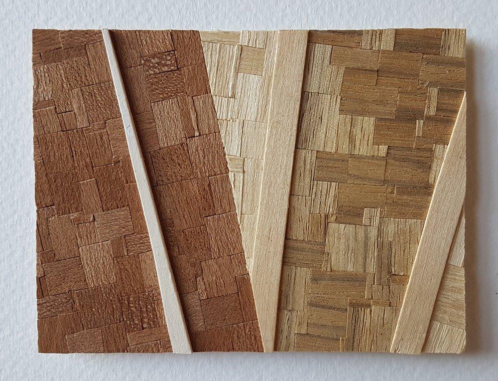 Series 64-62 (2013): wood veneers and mixed media 10cm x 8cm