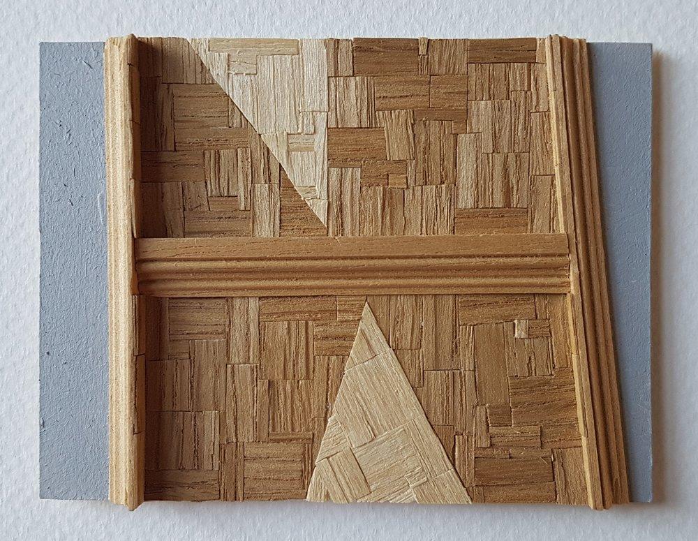 Series 64-63 (2013): wood veneers and mixed media 10cm x 8cm