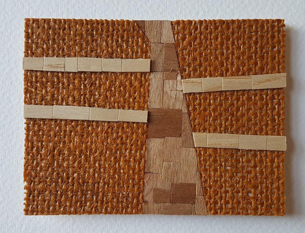 Series 64-64 (2013): wood veneers and mixed media 10cm x 8cm