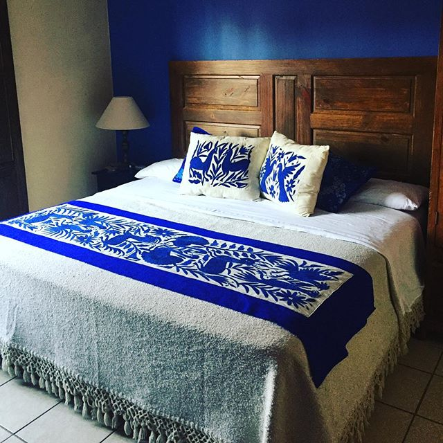 Our bedroom in San Miguel de Allende... we adore the otomi textiles.