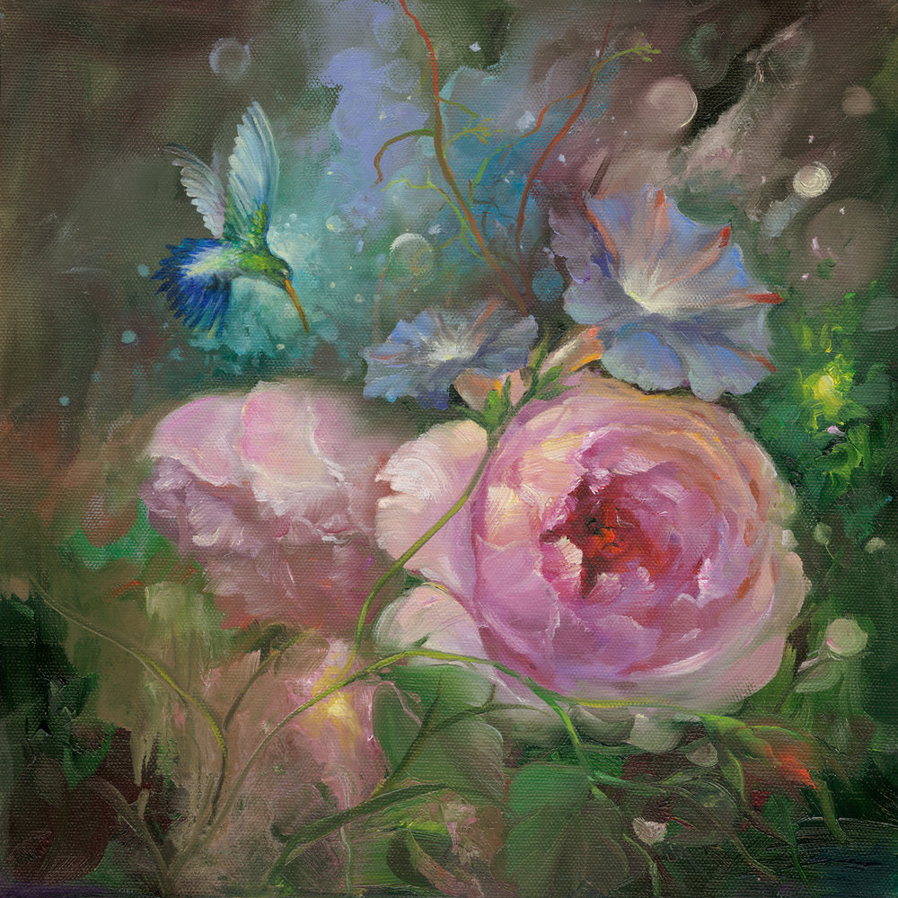 ''Fantasy Garden'' - ''Small Treasures'' 12x12 on Gallery wrap canvas with 1-1/2 in deep sides. ( no frame needed ) $ 99.00$ 20.00 S/H U.S.A. ONLYHand signed by Gary Jenkins