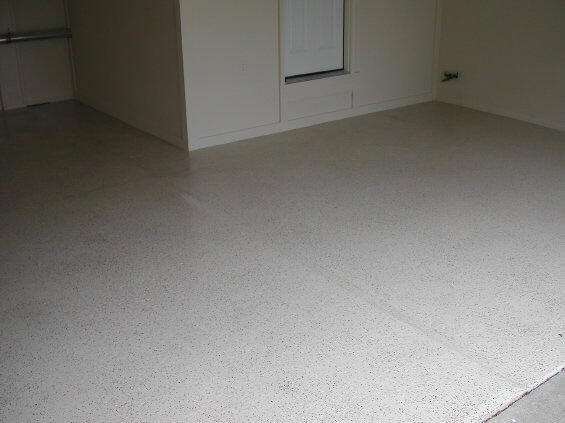 Concrete Garage Floor With Epoxy Color Flake And Urethane Sealer