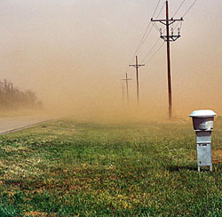 Most acid-stained concrete floors never encounter anything approaching this dust storm, but over time the accumulative effect can be just as devastating without preventive maintenance. Photo courtesy of:  ARS-USDA .