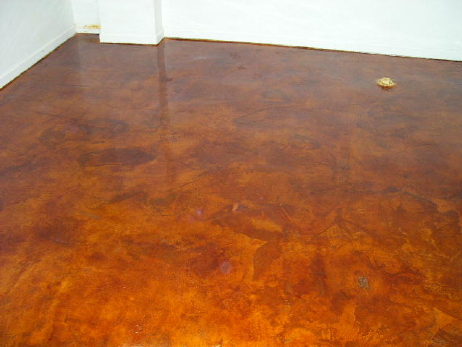 English Red, Acid-Stained White Cement Overlay Of Basement Concrete Floor With Clear Acrylic Sealer
