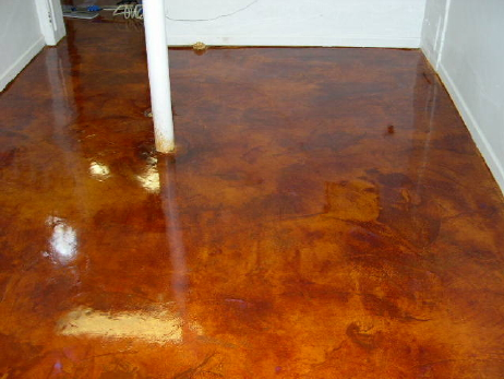 English Red, Acid-Stained White Cement Overlay Of Basement Concrete Floor With Clear Gloss Acrylic Sealer
