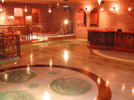 Celtic Design From Family Heirloom Engraved on Irish Pub Concrete Floor and Acid-Stained