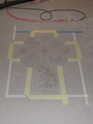 Celtic Cross Design Engraved Into Self-Leveling Cement Overlay