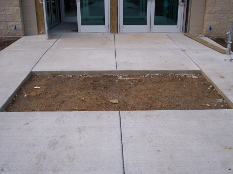 Dirt Sub-Grade for Special Section of Decorative Concrete At Church Entryway