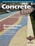 Concrete Decor, the Journal of Decorative Concrete, is the nation's leading magazine for stories and information about decorative concrete