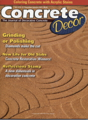 Concrete Decor is published eight times per year and covers countertops, polished concrete, stained concrete, contractors, training, concrete homes, and decorative concrete products.