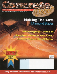 Concrete Decor Magazine Cover For 2003 Cutting Pictures In Concrete Contest Issue