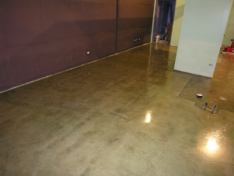 Concrete Floor of New Chicago Custard Shop Acid-Stained Green and Coated With Clear Sealer