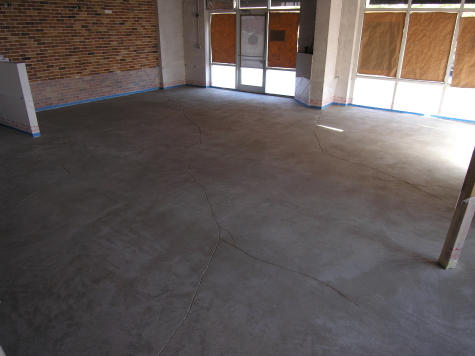 Cleaned Concrete Floor With Engraved Artificial Cracks Prior to Acid Staining