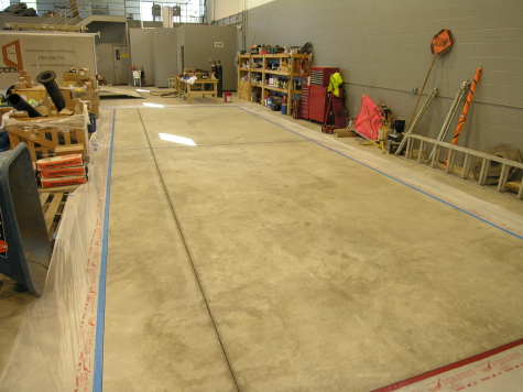 Warehouse Concrete Floor Cleaned and Masked Off Before Acid Staining