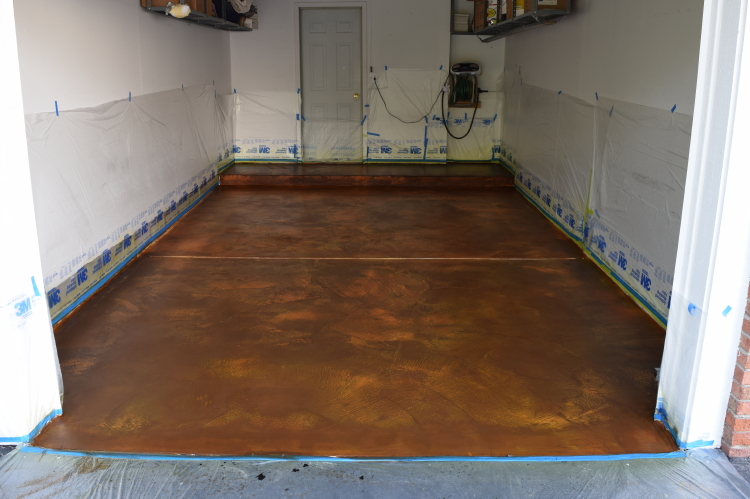 White Cement Overlay Of Garage Concrete Floor After Acid-Staining
