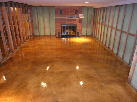 Finished Basement Concrete Floor With Acid-Stained Cement Overlay, Saw-Cut Pattern And Clear Sealer