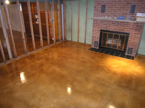 Acid-Stained Cement Overlay Of Basement Concrete Floor With Clear Acrylic Sealer and High Gloss Floor Finish