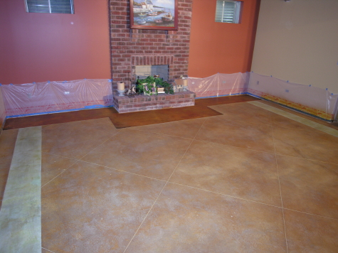 Finished Basement Concrete Floor After Saw-Cutting Border And Acid-Staining