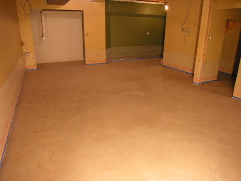 Finished Basement Concrete Floor After Cleaning In Prep For Acid-Staining