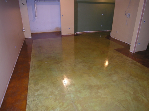 Acid-Stained Finished Basement Concrete Floor With Colored Border