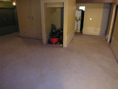 Finished Basement Concrete Floor Hallway After Cleaning Before Acid-Staining